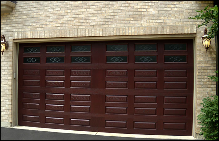 Extremely light fibre glass garage door with secure for Wood grain garage doors
